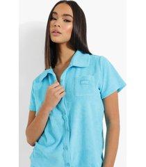 ofcl geweven badstoffen blouse met label, blue