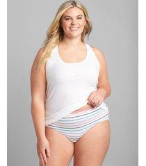 lane bryant women's cotton high-leg brief panty 34/36 white stripes