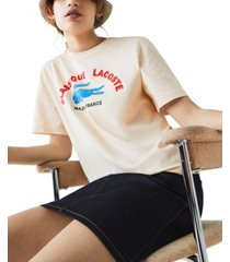 lacoste made in france embroidered graphic t-shirt