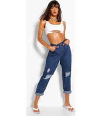 high rise distressed dad jeans, mid blue