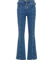 jeans med utsvängda ben med dragkedja, med ekologisk bomull
