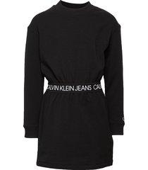logo waistband ls dress jurk zwart calvin klein