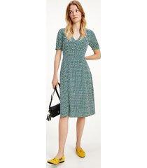 tommy hilfiger women's short-sleeve geo print midi dress court side geo / primary green - 0