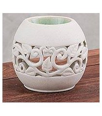 ceramic oil warmer, 'charming ivy in green' (thailand)