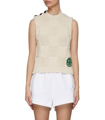 buttoned shoulder woven check smiley face sweater vest