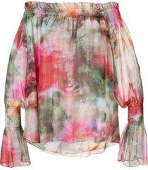 adam lippes floral print off-shoulder top - pink