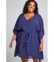 lane bryant women's drawstring cover-up dress 14/16 new navy
