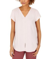 style & co button-down flutter-sleeve top, created for macy's