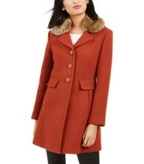 kate spade new york faux-fur-trim walker coat