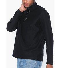 topman black long sleeved twill top tröjor black