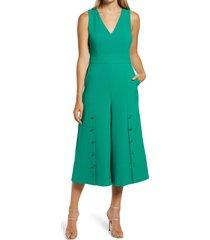 women's vince camuto button detail crop crepe jumpsuit