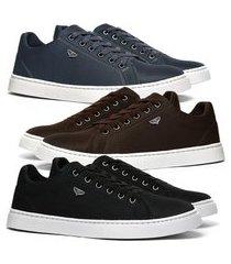 kit 3 pares de sapatênis skateboard sapatofran casual azul, preto e café