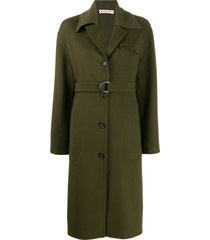 marni belted single breasted coat - green