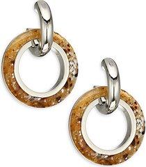marbled double hoop-drop earrings
