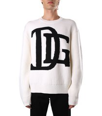 dolce & gabbana wool sweater with dg logo inlay