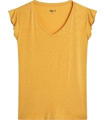 camiseta unicolor con cuello en v color amarillo, talla l