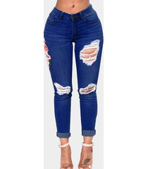 bodycon rasgado al azar bordado floral azul jeans