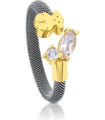 anillo eklat plateado-dorado tous 712375060 - superbrands
