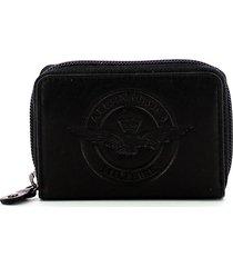 aeronautica militare black leather mens zip around card holder