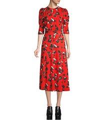 puff-sleeve floral midi dress