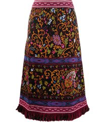 etro paisley-print knitted midi skirt - black
