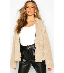 double breasted faux fur teddy coat, stone