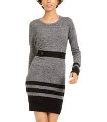 bcx juniors' striped button-tab sweater dress