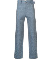 cerruti 1881 belted-waist straight-leg trousers - blue