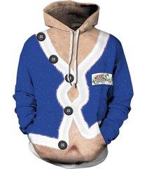 christmas coat print drawstring hoodie