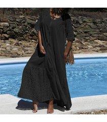 zanzea vestido largo largo con detalle de encaje de manga corta para mujer vestido largo de vacaciones de verano -negro