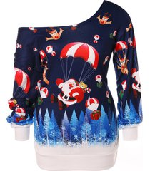 christmas plus size santa claus print skew neck sweatshirt