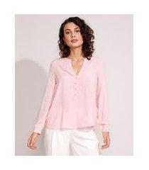 camisa ampla de viscose maquinetada manga longa decote v rosa claro