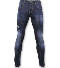 basic broek - jeans met verfvlekken - d3068