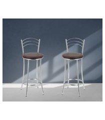 banquetas acabamento cromado assentos marrom lilies móveis