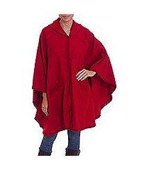 alpaca blend cape, 'vision in red' (peru)