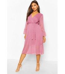 dobby midi-jurk met riem en uitlopende mouwen, lila
