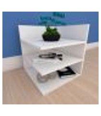 mesa de cabeceira minimalista com prateleiras em mdf branco