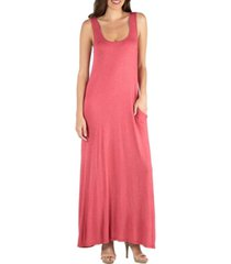 24seven comfort apparel scoop neck sleeveless maxi dress with pockets