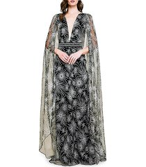 embroidered tulle cape gown