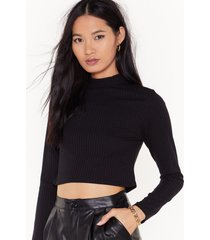 womens crop it low high neck sweater - black
