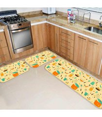 kit tapete de cozinha panelas único