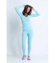 conjunto de pijama acuo longo algodão marola feminino
