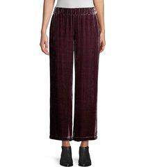 eileen fisher women's velvet wide-leg pants - black - size xs