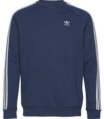 3-stripes crew sweat-shirt tröja blå adidas originals
