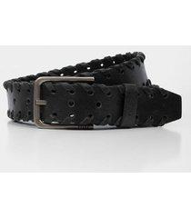 cinturón unifaz de cuero para hombre trenzado bordes