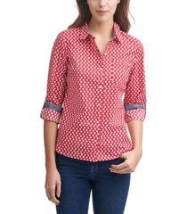 tommy hilfiger daisy-print roll-tab cotton shirt