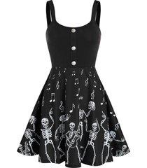 halloween skeleton music note print skater dress