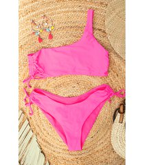 one shoulder bikini set neon pink
