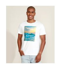 "camiseta masculina ciclos there is no planet b"" manga curta gola careca branca"""