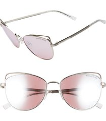 michael kors 55mm mirrored cat eye sunglasses in silver/pink mirror at nordstrom
